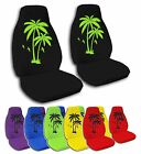 2 Front Palm Trees Velvet Seat Covers with 15 Color Options