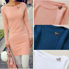 Women Loose Tops Pullover Straight Jumper Dress Long Sleeve Knitted Sweater E