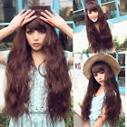 fashion women's weave corn curly wave hair full long wig cosplay party brown wig