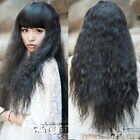 women fashion wig corn curly wavy long hair wigs cosplay daily party black wig