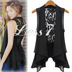 Sexy Women's Sleeveless Hollow Lace Coat Chiffon Vest Shirt Cardigan Jacket Tops