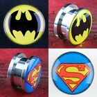 Hot Batman SuperMan Screw Ear Plugs Tunnel Expander Stretcher Earlets Jewelry