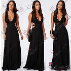 Womens Black Lace Plunge Cut Out Party Evening Prom Gown Long Maxi Ladies Dress