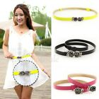 Fashion Lady PU Leather Thin Narrow Rose Buckle Waist Belt Waistband Strap