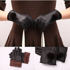 Women's Winter Warm Black Leather Gloves Touch Screen Gloves Mittens Size M, L