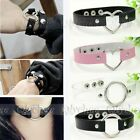 1X Harajuku Handmade Faux Leather Choker Necklace Collar Punk Gothic Heart Ring