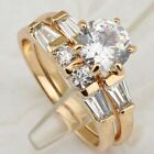 Size 5 6 7 8 2in1 Nice White Gems Yellow Gold Filled Engagement Ring Sets R1893