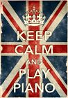 KCV34 Vintage Style Union Jack Keep Calm Play Piano Funny Poster Print A2/A3/A4