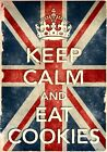 KCV44 Vintage Style Union Jack Keep Calm Eat Cookies Funny Poster Print A2/A3/A4