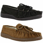 Mens Lodgemok Real Suede Brown Wool Lined Moccasins Moccs Slippers Sizes 7 to 12