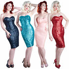 Gerry Roxby Jessica New Sequin Vintage Pinup Fitted Pencil Party Cocktail Dress