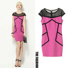 Womens Sexy Mesh Patchwork Skater Formal Club Party Cocktail Shirt Mini Dress