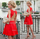 dp159 Celebrity Style Scallopped Back Backless Skater Little Red Dress