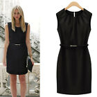 Women Round Neck Career Sheath Bodycon Formal Party Cocktail Evening Mini Dress