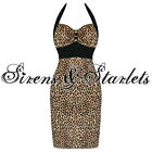 Banned New Ladies Leopard Rockabilly Pinup Vtg 50S Cocktail Party Pencil Dress
