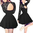 WOMENS Ladies Lace Long Sleeve Backless Evening Formal Cocktail Party Dress SML