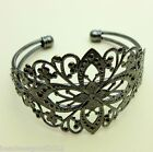GUNMETAL ADJUSTABLE CUFF BANGLE WITH FILIGREE FLOWER DETAIL Bracelet Blank