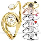 Elegant Women Round Cuff Bangle Bracelet Crystal Rhinestone Quartz Dress Watch