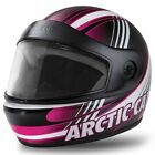 Arctic Cat Youth Kids PFP Full Face Snowmobile Helmet - Pink / Black - 5252-44_