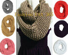 Women Winter Crochet Scarf Infinity Style Solid Color Fashion Loop Warm Wrapping