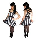 Women's Skull Lace Black & White Striped Retro Dress Kreepsville 666 50s Fashion