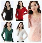 Trendy Women V neck Floral Lace Mesh Blouse Tops Delicate Long Sleeve Tee Shirts