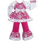 AnnLoren Girls Smock Floral Blossom & Chevron Pant Clothing Outfit 12/18m - 9/10