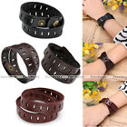 Mens Women Real Genuine Leather Cuff Bangle Bracelet Wrap Wristband Colors Cool