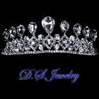 Clear Swarovski Crystal Rhinestones Queen Tiara Necklace Earrings Bridal Set