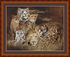 BIG CATS II -  14 COUNT CROSS STITCH CHART (DMC THREADS) FREE PP WORLDWIDE