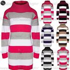 Womens Ladies 3 Color Block Stripe Knitted Roll Cowl Neck Jumper Tunic Dress Top