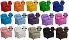 Children's CONTEMPORARY Vinyl RECLINER with STORAGE ARMS Hardwood Frame