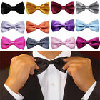 5Pcs Satin Solid Color Pre Tied Wedding Party Fancy Plain Necktie Tie Bow Ties