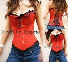 Red Full Spiral Steel Boned Moulin Rouge Burlesque Corset Costume S-2XL