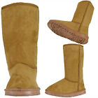 Womens Winter Mid Calf Boots Casual Comfort Pull On Faux Suede Shoes Tan