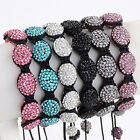 Woven Knitted Crystal Rhinestone Resin Egg Pave Beads Bracelet Macrame 6 Colors