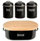 Typhoon Vintage Retro Enamel Tin Black Bread Bin or Tea, Coffee & Sugar Tins Jar