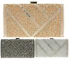 LADIES HARD CASE BOX CLUTCH PARTY GLITTER EVENING DRESSY OCCASION CLUTCH BAG