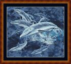 DOLPHINS - 14 COUNT CROSS STITCH CHART (DMC THREADS) FREE PP WORLDWIDE