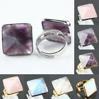 Popular Crystal Pyramid Stone Healing Adjustable Cocktail Ring Opal Amethyst