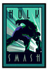 Framed Marvel Incredible Hulk Art Deco Style Poster New - 24 Inches x 36 Inches