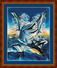 HAPPY DOLPHINS - 14 COUNT CROSS STITCH CHART (DMC THREADS) FREE PP WORLDWIDE