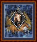 HORSE DIAMOND -  14 COUNT CROSS STITCH CHART (DMC THREADS) FREE PP WORLDWIDE