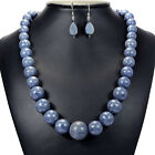 Natural Blue Coral 925 Sterling Silver Necklace & Earrings Set Organic Jewellery