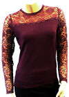 New Plum Ladies Vintage style Retro Pin-up Lace long sleeve Sweater Jumper Top