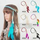 1X Boho Hippie Feather Leaf Hairband Tassels Weave Headband Elastic Headdress