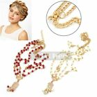 1X Women Boho Gold Chain Wedding Headdress Red White Beads Headband Head Band