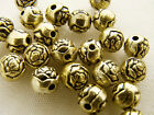 6mm 25/50/100/200/500grams ANTIQUE GOLD ACRYLIC CRAFTED ROSE ROUND BEADS AB84930