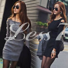 New Mini Lady  Dress  Long Sleeve Slim Fit Off Shoulder Sweater Bodycon Dress CA
