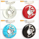 Fashion carved silver pendant with white red 37mm ring beads+Free gift box/chain